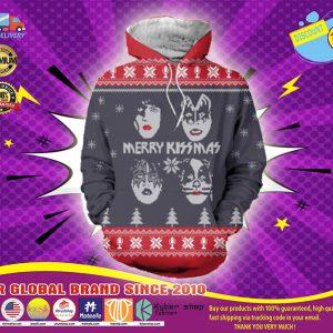 Christmas kiss rock band 3d ugly sweater