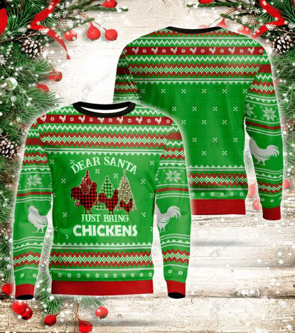 Dear santa just bring chickens ugly sweater