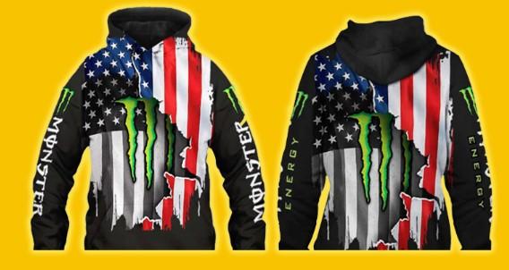 Flag american monster energy 3d hoodie