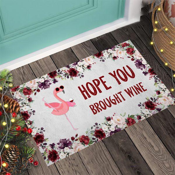 Flamingo Hope you brought wine Doormat