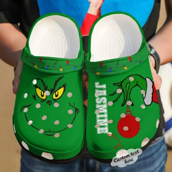 Grinch custom personalized name crocs shoes crocband
