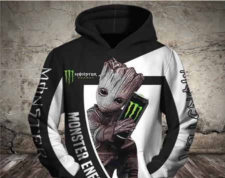 Groot hug monster energy logo full printing shirt