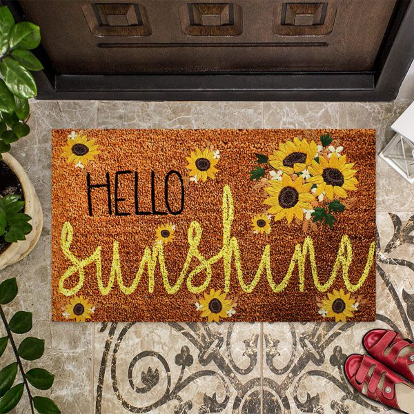 Hello sunshine sunflower doormat
