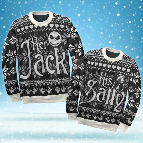 Jack Skellington and Sally ugly Christmas sweater