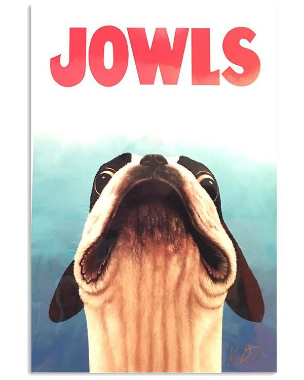 Jowls Boston terrier Jaws movie poster