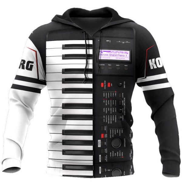 Korg piano 3D all over print hoodie