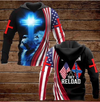Lion confederate states of america flag these colors don't run they reload all over printed 3d hoodie