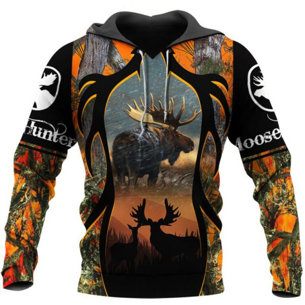 Moose hunting camo 3d all over print hoodie
