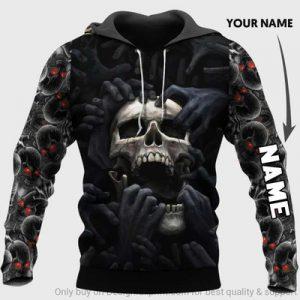 Personalized Red Eyes Screaming Skull 3D CUSTOM NAME HOODIE