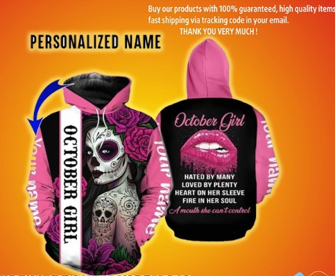 Personalized name sugar skull october girl 3d all over printed hoodie and shirt