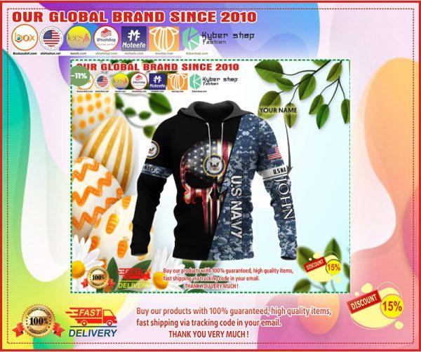 Personalized us navy skull full printing hoodie