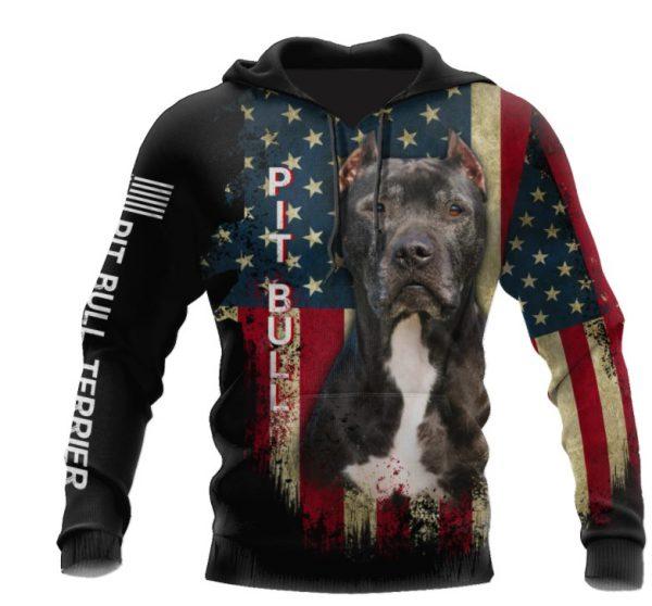 Pit Bull Terrier American Flag 3D HOODIE