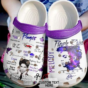 Prince Purple rain custom text crocs shoes