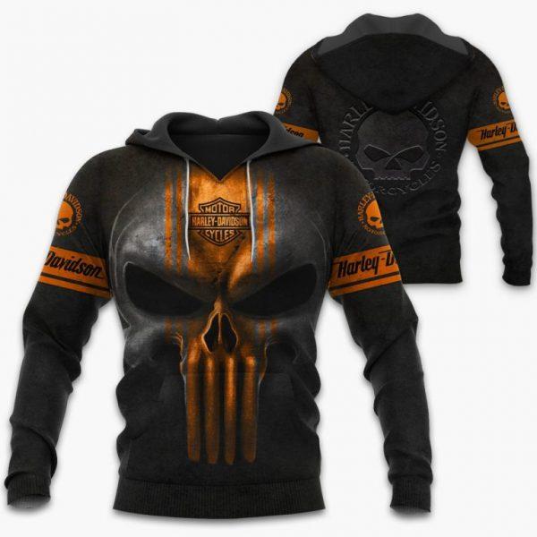 Punisher Skull Motorcycle Harley Davidson 3D hoodie