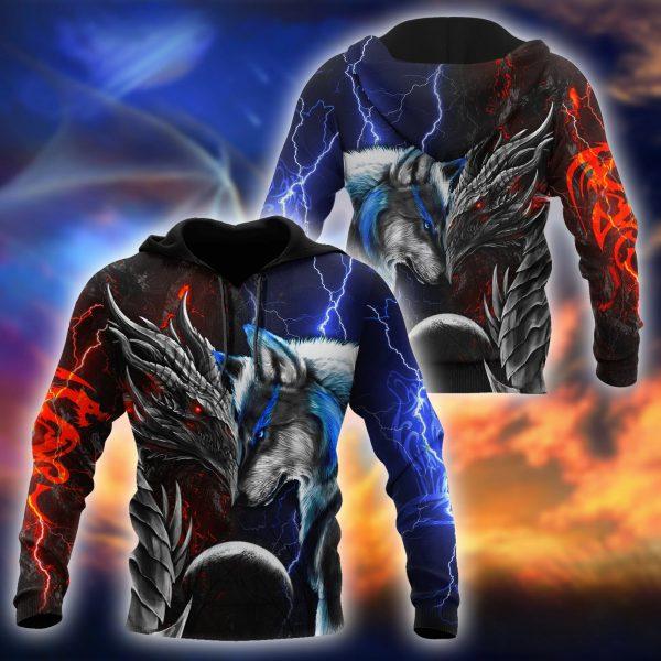 Red blue Dragon 3d hoodie