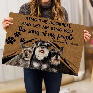Schnauzers Ring The Doorbell And Let Me Sing You The Song Of My People Doormat