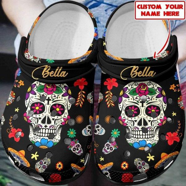 Sugar skull custom name croc shoes crocband clog
