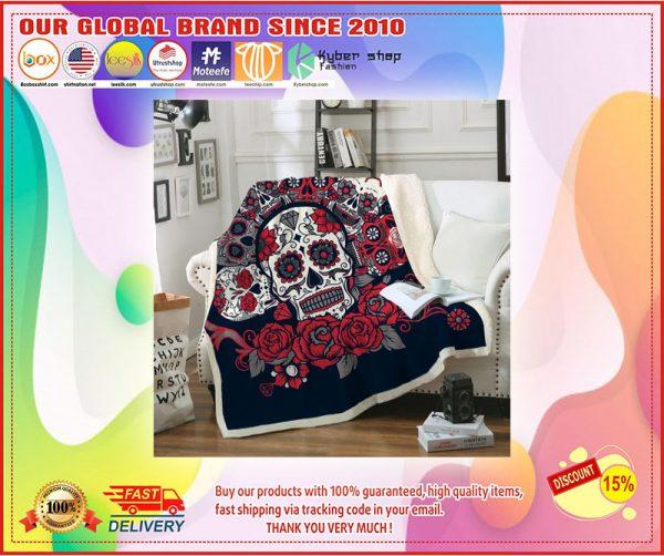 Sugar skull roses blanket