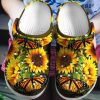 Sunflower butterfly croc shoes crocband clog