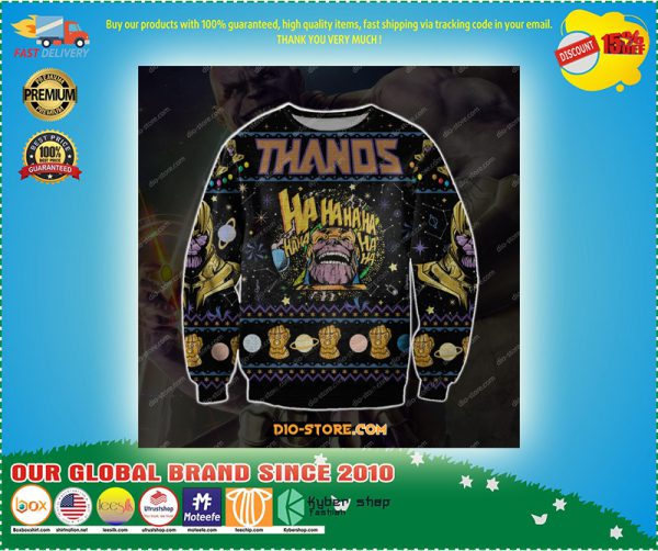 Thanos d print knitting pattern ugly christmas sweater