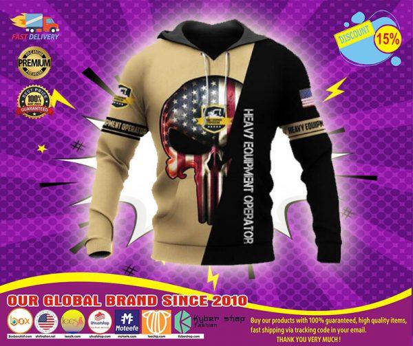 US heavy equipment operator skull full printing shirt