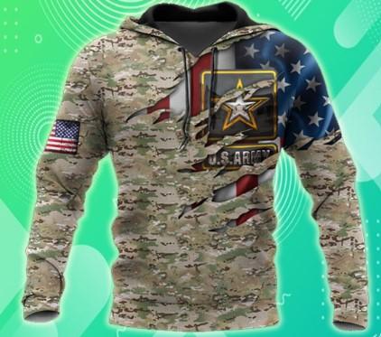 Us army veteran camo american flag 3d all over printed hoodie