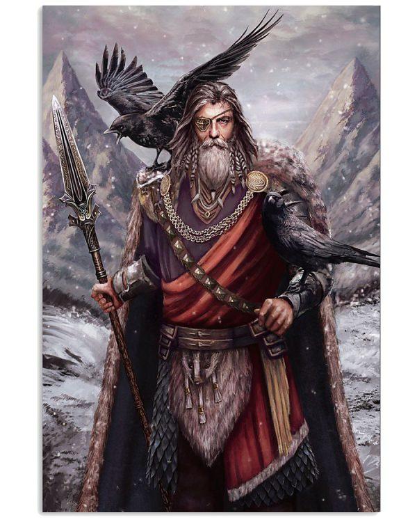Viking odin ravens poster