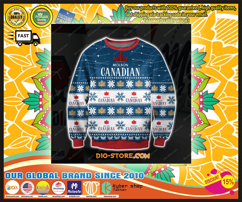 D ALL OVER PRINT MOLSON CANADIAN UGLY CHRISTMAS SWEATER