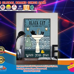 Black cat and sink co wash your paws poster