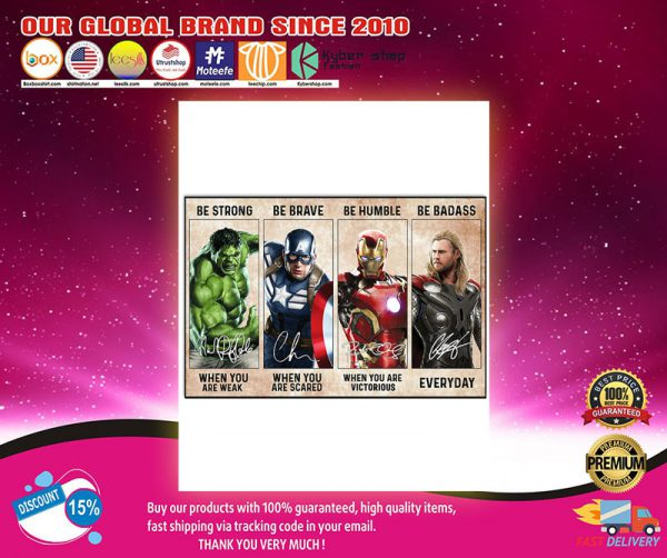 Marvel Hulk Captain American Iron Man Thor be strong be brave poster2