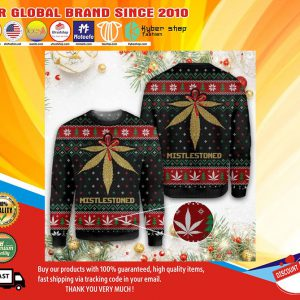 Merry christmas weed mistlestoned ugly sweater1