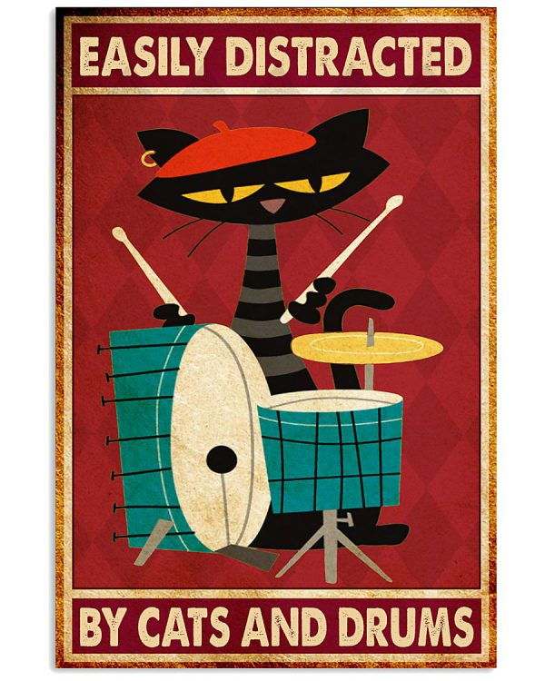 Poster Music cat drum easily distracted