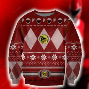 POWER RANGERS RED KNITTING PATTERN UGLY CHRISTMAS SWEATER