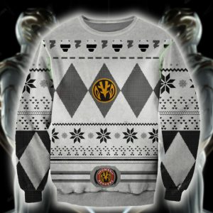 POWER RANGERS WHITE KNITTING PATTERN UGLY CHRISTMAS SWEATER