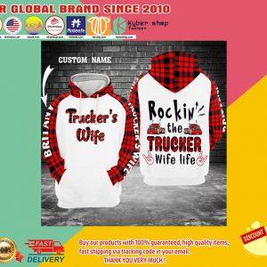 Rockin the trucker wife life 3d hoodie custom name 2