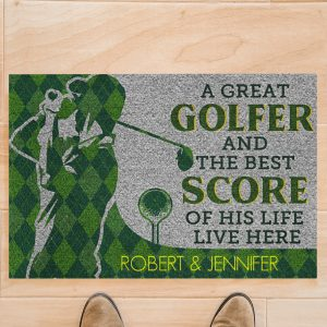 A great golfer and the best score of his life live here doormat