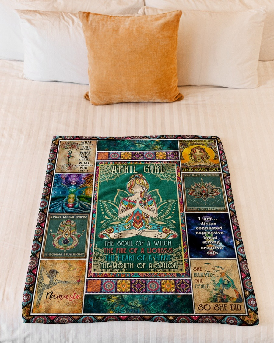 April girl yoga the soul of the witch the fire of lioness blanket2