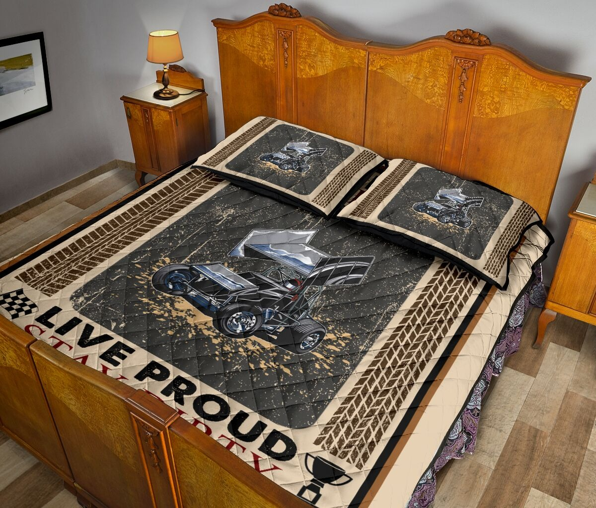 Car racing Live fast live loud live proud stay dirty bedding set3