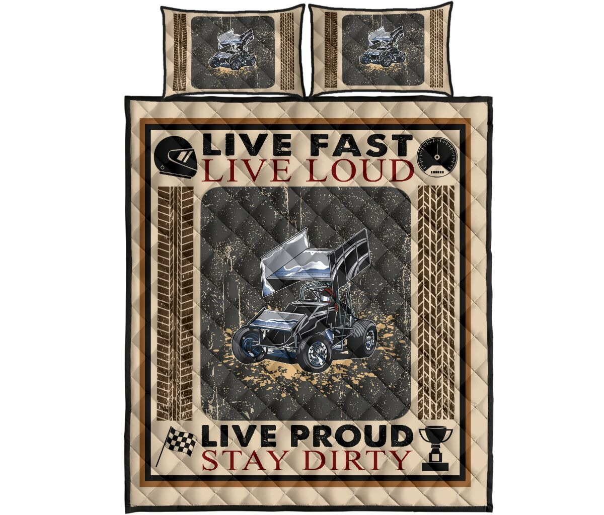 Car racing Live fast live loud live proud stay dirty bedding set4