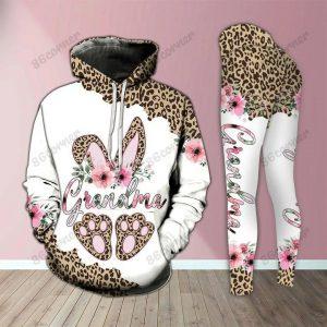 Grandma bunny leopard 3D hoodie and legging