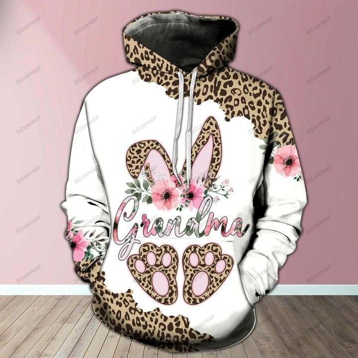 Grandma bunny leopard 3D hoodie and legging2