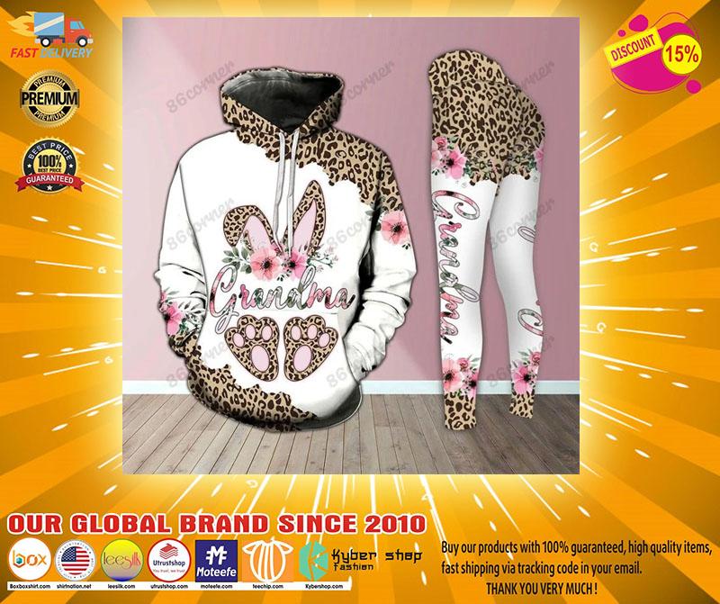 Grandma bunny leopard 3D hoodie and legging4