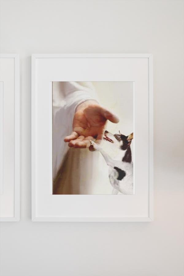Jesus God Rat Terrier take my hand canvas poster