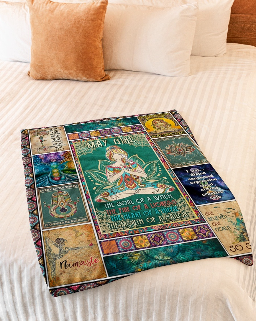 May girl yoga the soul of the witch the fire of lioness blanket2