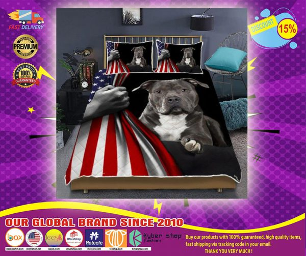 Pitbull American Flag Bedding set