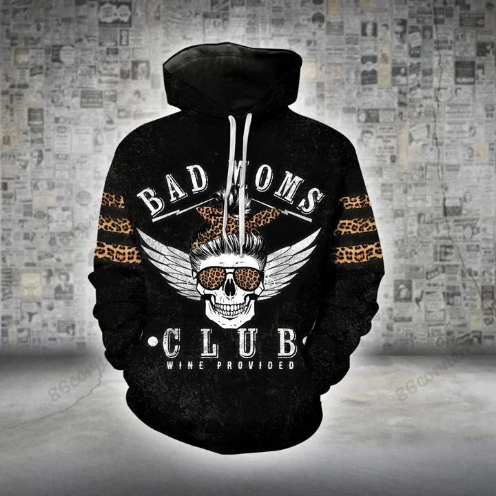 Skull bad moms club wine provided 3D hoodie and legging2