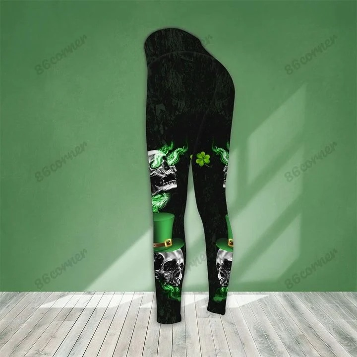 St Patrick day Skull stuck between IDK IDC and IDGAF 3D hoodie and legging2