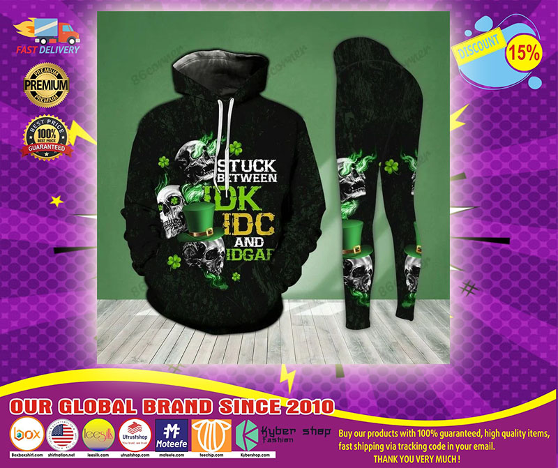 St Patrick day Skull stuck between IDK IDC and IDGAF 3D hoodie and legging4