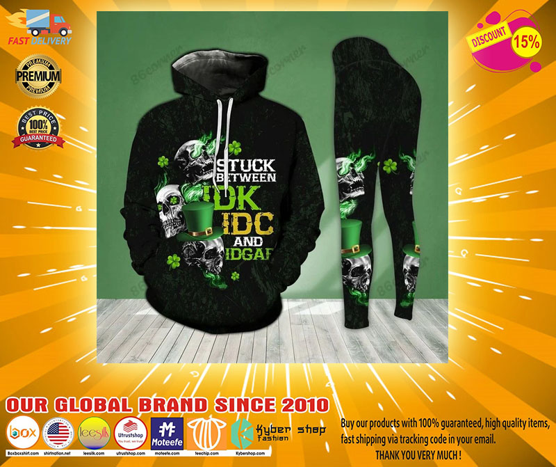 St Patrick day Skull stuck between IDK IDC and IDGAF 3D hoodie and legging5