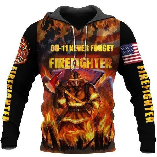 09 11 never forget firefighter 3D hoodie